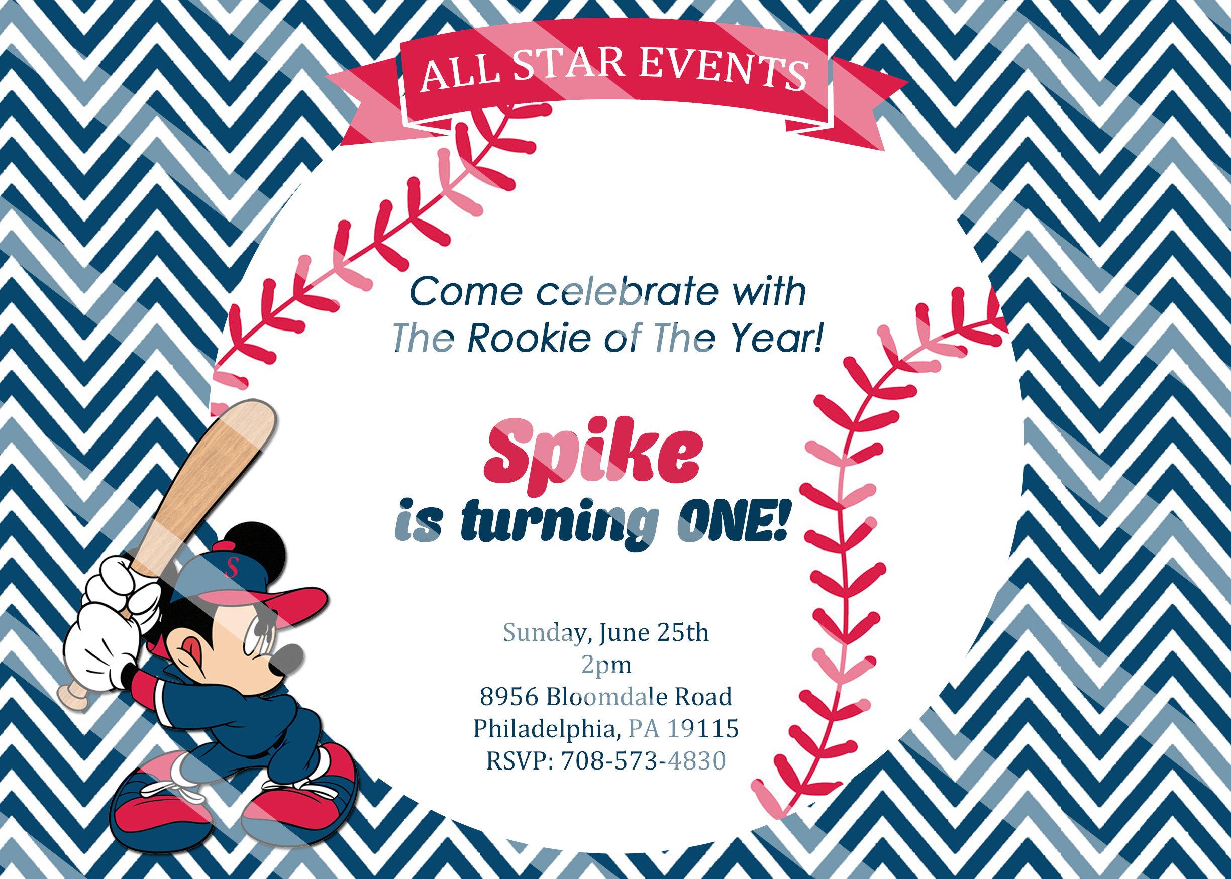 PRINTED or Digital Baseball Mickey Mouse Birthday Invitations   Etsy