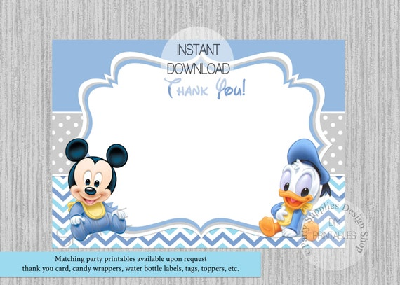 Cute Baby Mickey Mouse Baby Shower Thank You Card Instant Etsy
