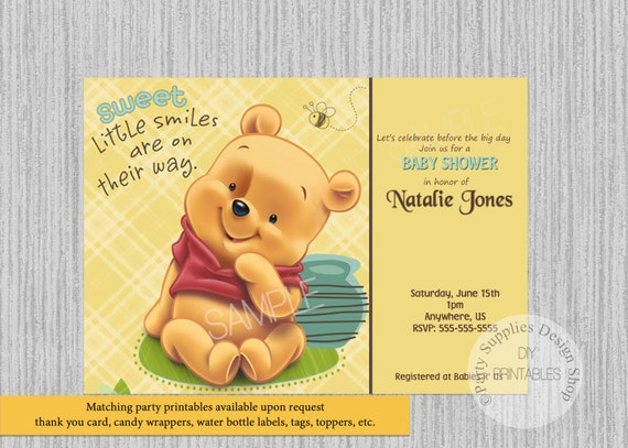 photo about Printable Winnie the Pooh Baby Shower Invitations named Posted or Electronic Child Winnie the Pooh Child Shower Invites, Winnie Pooh Get together Materials, Winnie the Pooh Bash Printables, Invites