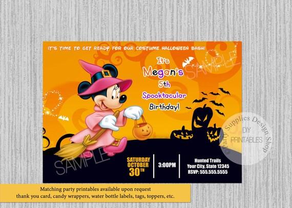 Halloween Minnie Mouse Zaproszenia Urodzinowe Zaproszenia Do Etsy