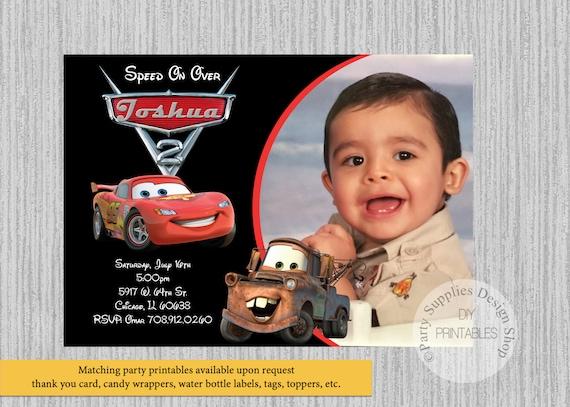 Disney Cars Movie Birthday Invitations Lightning McQueen