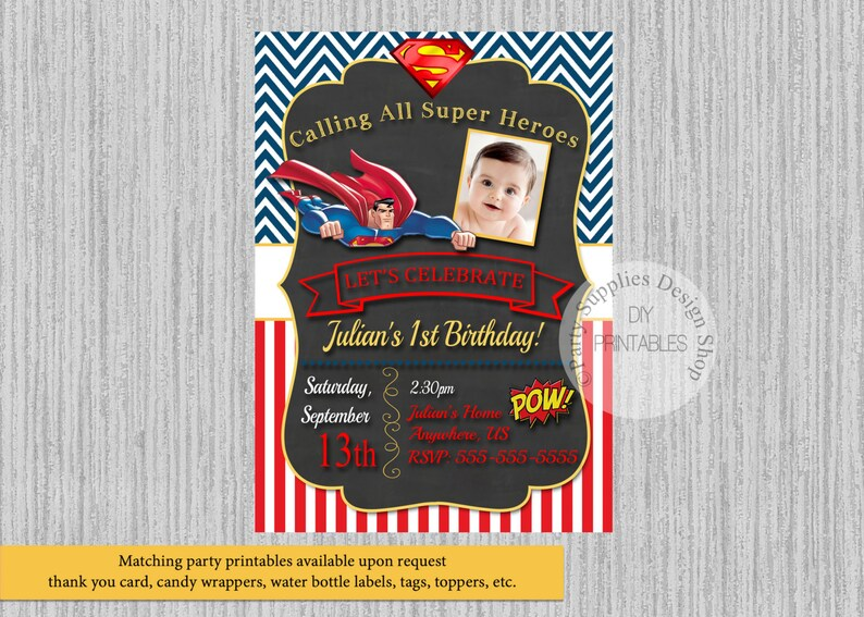 PRINTED Or Digital Superman Birthday Invitations