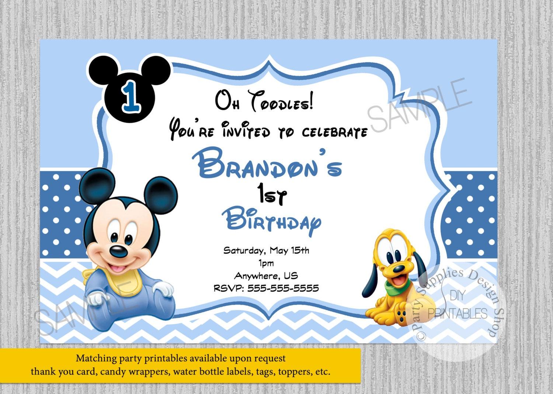 Cute Baby Mickey Mouse Birthday Invitations Baby 1st Birthday | Etsy