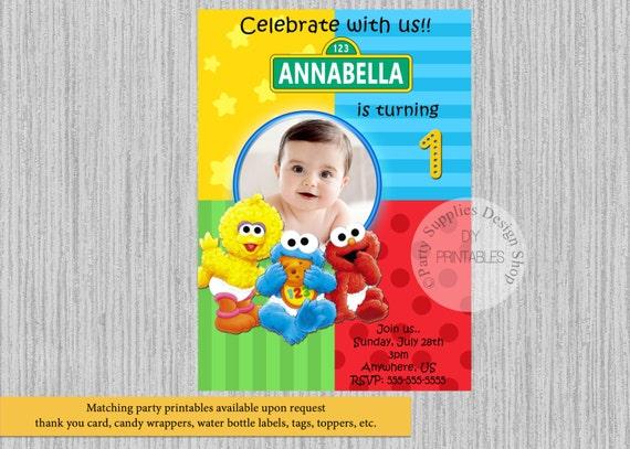 Baby Sesame Street Birthday Invitations Baby Elmo Birthday Etsy