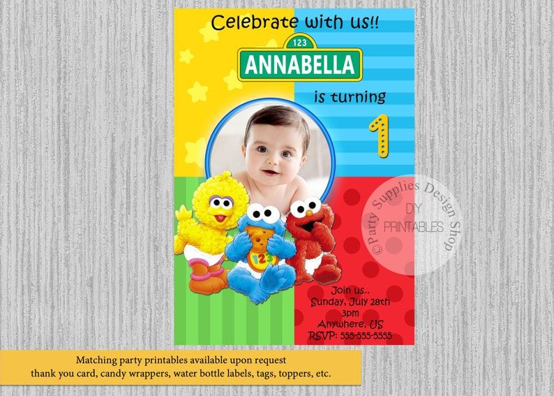 Baby Sesame Street Birthday Invitations Elmo