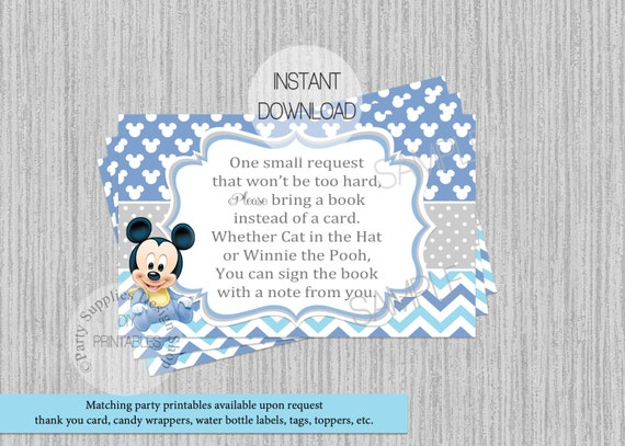 Baby Mickey Mouse Baby Shower Book Request Insert INSTANT