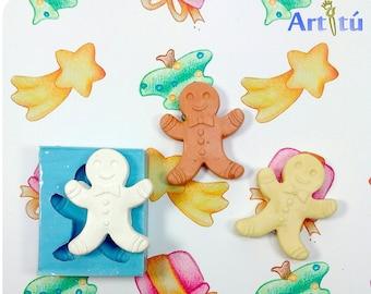 Christmas mold - Gingerbread man mold silicone mold, mold for resin, mold for plaster, xmas mold, earring mold
