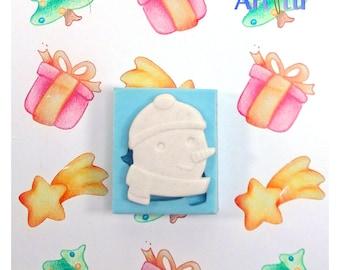 Snowman mold Christmas mold silicone mold resin mold plaster mold earring mold Christmas ornament winter mold