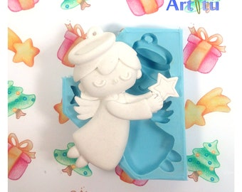 Angel silicone mold Christmas molds diy Christmas ornaments mold for resin molds for plaster