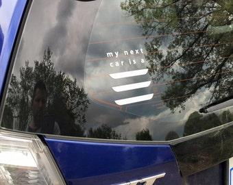 My Next Car is a Tesla Model 3 vinyl car decal window sticker