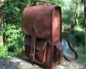 5f07b02d384f Hand Made Leather Backpack Large Bag Handbag Tan Real Leather Rucksack  Brown Boho Festival