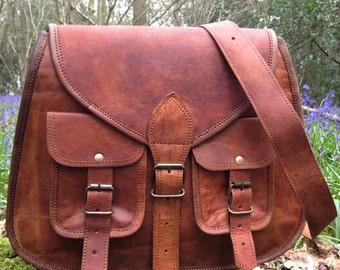 Hand Made Large Leather Handbag Satchel Tan Portfolio Messenger Real Leather  Saddle Bag Tablet   Ipad c4c69280ee0f3