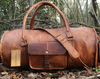 8c172195727 Hand Made Chic Rustic Leather Travel Bag 100% Real Leather Weekend Bag  Holdall Overnight Holiday Vacation Duffel