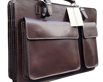 f2caf0ae2d Hand Made Italian Leather Brown Briefcase Laptop Satchel Portfolio Messenger  Bag Real Leather Office Case Attache