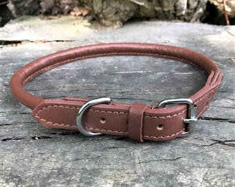 Hand Made Soft Leather Rolled Dog Collar Brown