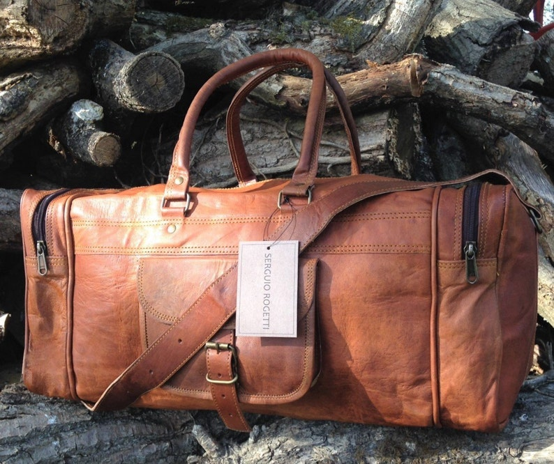 Hand Made Chic Rustic Leather Travel Bag 100% Real Leather image 0