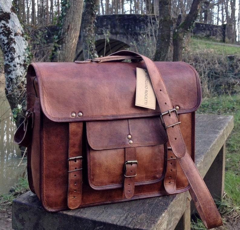 15 Leather Satchel Leather Bag Leather Messenger image 0