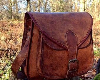 Hand Made Leather Handbag Satchel Tan Portfolio Messenger Real Leather Saddle Bag Tablet