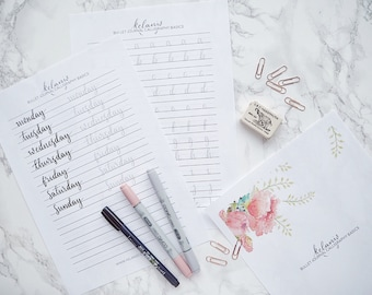 Bullet Journal Modern Calligraphy Brush Lettering Practice Sheets