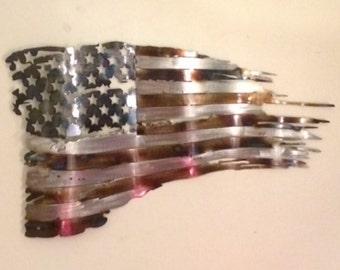 """Plasma cut metal art, Battle worn tattered distressed metal Flag measuring 24"""""""