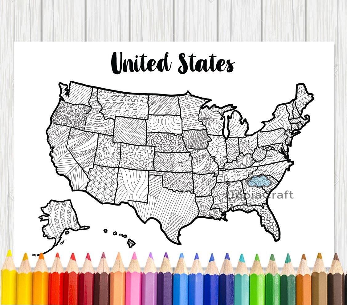 USA Karte Malvorlagen Usa Karte Wandkunst Erwachsenen   Etsy