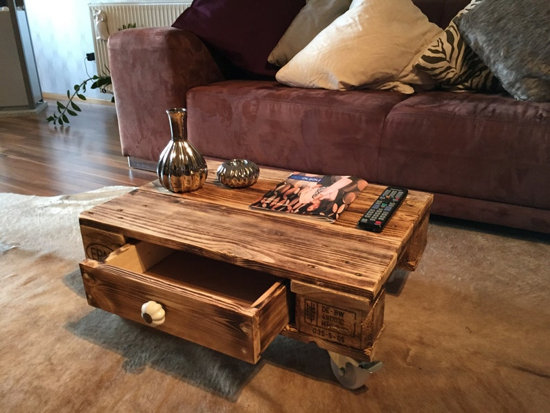 Pallet furniture coffee table with drawer Marsala image 0
