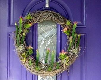 Desert wreath, Cactus wreath, Succulent wreath, Summer wreath