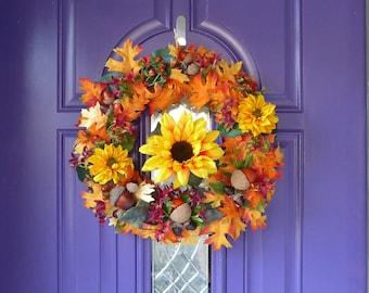 Sunflower wreath, Fall wreath, Orange and yellow wreath, Oak leaves and acorns wreath