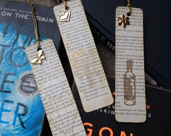Handmade Bookmarks, book page bookmarks, book lover gift, bookworm gift, readers gift, gift for readers, stocking filler