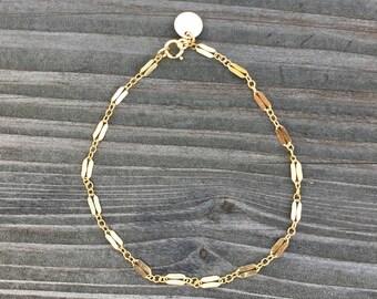 Dainty Gold Filled Razor Chain Bracelet or Anklet