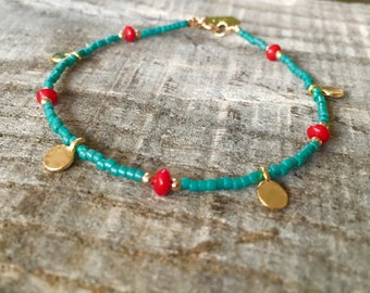 Gold Charm Bracelet with Natural Coral and Teal Beads | Stacking Bracelet