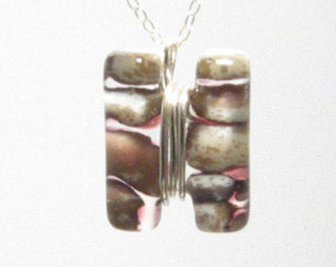 Split Sterling Wrapped River Rock Pendant