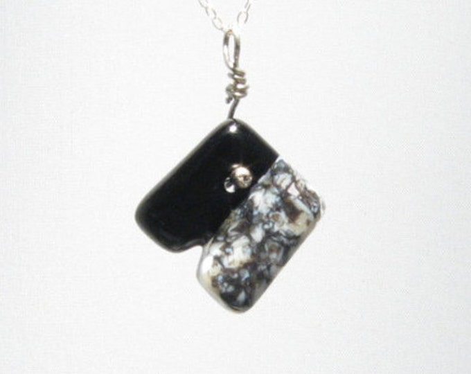 Black and Marble Diagonal Pendant