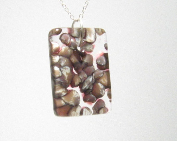 River Rock and Cranberry Glass Pendant