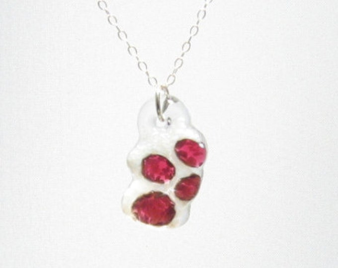 Cranberry and Snow Paw Pendant