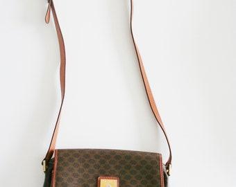 36b7c88d2b Celine vintage Macadam toile et cuir sac en bandoulière