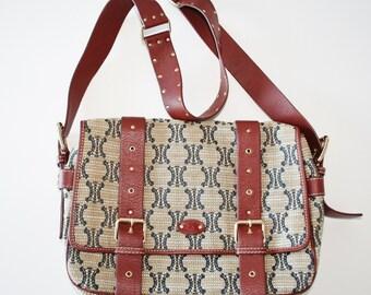 a4f3f643e400 Celine Vintage Brown Canvas Logo Crossbody Messenger Bag