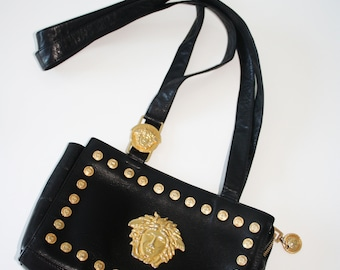 5ebdd0a5bc09 Gianni Versace VIntage Black Leather Shoulder Bag Gold Medusa Head