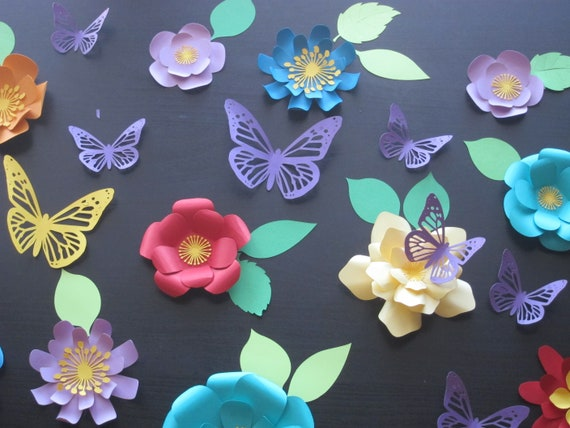 Wall decor colorful paper flowers handmade small mini paper etsy image 0 mightylinksfo