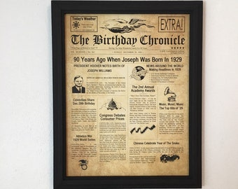90th Birthday Gift Party Decor 1929 Gifts Frame Included Happy Ideas Fun Facts