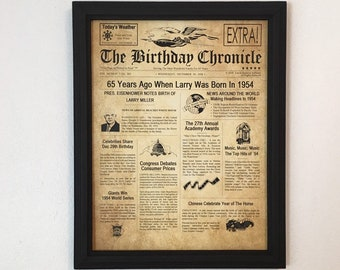 FRAMED 65th Birthday Gift Party Decor 1954 Gifts 65 Years Old Ideas Facts