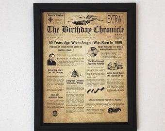50th Birthday Gift Party Decor 1969 Gifts Frame Included Happy Ideas Fun Facts