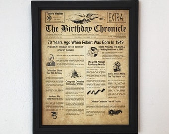 70th Birthday Gift Party Decor 1949 Gifts Frame Included Happy Ideas Fun Facts