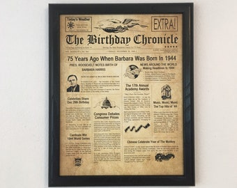 FRAMED 75th Birthday Gift Party Decor 1944 Gifts 75 Years Old Ideas Facts