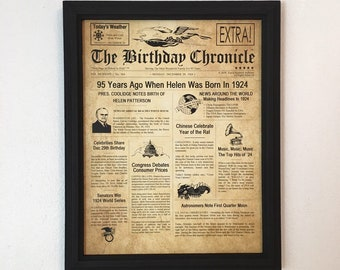 FRAMED 95th Birthday Gift Party Decor 1924 Gifts 95 Years Old Ideas Facts