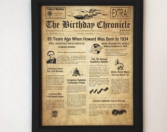 FRAMED 85th Birthday Gift Party Decor 1934 Gifts 85 Years Old Ideas Facts