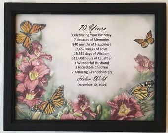 FRAMED 70th Birthday Gift Milestone Born In 1949 Personalized Gifts 70 Years Old Poster