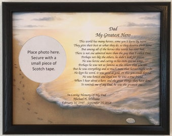 44279478 In Memory of Dad, Memorial Gift, Sympathy Gift, My Greatest Hero Poem,  Personalized Gift, Condolence Gift, Frame Included, Loss of Father