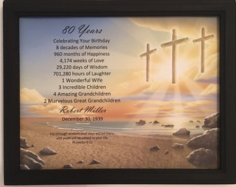 80th Birthday Gift Religious Gifts Born In 1939 Frame Included 80 Years Old Personalized Party Decor Print