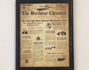60th Birthday Gift Party Decor 1959 Gifts Frame Included Happy Ideas Fun Facts
